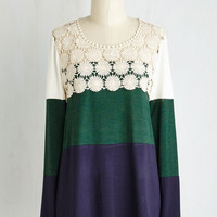 Colorblocking Mid-length Long Sleeve Not a Moment Too Bloom Top