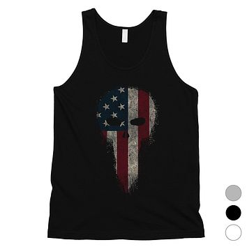 Vintage American Skull Mens Graphic Tank Top Gift For 4th of July