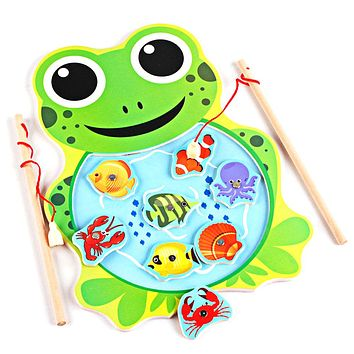 Baby Toys Magnetic Fishing Game Board Cartoon Frog Cat Wooden Toys Toy Jigsaw Puzzle Educational Toys for Children