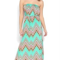 Strapless Maxi Dress with Boho Tribal Pattern and Drawstring Waist