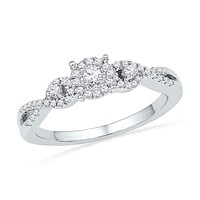 10kt White Gold Women's Round Diamond Solitaire Halo Twist Bridal Wedding Engagement Ring 1/4 Cttw - FREE Shipping (US/CAN)