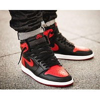 Nike Air Jordan Retro 1 Popular Women Men High Top Contrast Sports Shoes Sneakers Black&Red