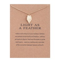 Golden Leaves Card Alloy Clavicle Pendant Necklace  171208