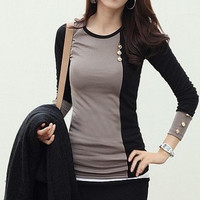 new fashion women clothing t shirt korean style punk sexy tops tee clothes Long sleeve T-shirt Slim mixed colors = 1930422980
