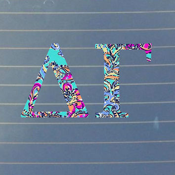 Lilly Pulitzer Inspired Delta Gamma Decal | Delta Gamma Car Decal | Delta Gamma Car Sticker | Sorority Decal| Greek Stickers | Car | 155