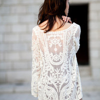 cream white floral crochet lace tunic dress beach coverup | Goodnight Macaroon | Women's Clothing & Jewelry