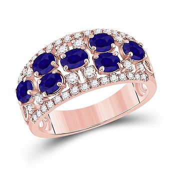 14k Rose Gold Oval Blue Sapphire Diamond Band Ring 1-7/8 Cttw