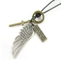 World Pride Vintage Style Angel Wing Cross Ring Pendant Leather Chain Necklace