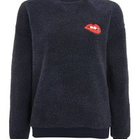 Borg Lips Sweatshirt by Tee & Cake - New In Fashion - New In