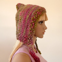 Winter knit hat - pink and green - hand knit in Italian wool blend - hood hat