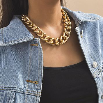 Fashion Vintage Necklaces For Women Female Gold Silver Color Alloy Thick Chain Convenient Buckle Necklace Jewelry
