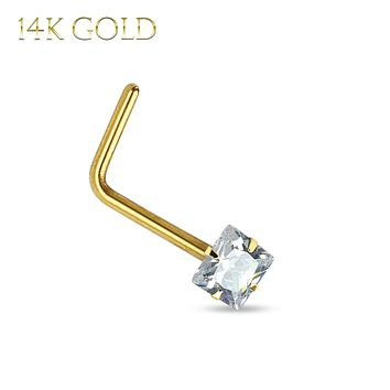 Nose Ring 14Kt. Gold L-Shape Prong Set Square CZ 20G Body Piercing Jewelry