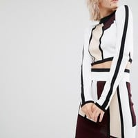 River Island | River Island Colour Block Cropped Jumper at ASOS