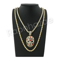 "GOLD SLAUGHTER GANG PENDANT W/ 24"" ROPE /18"" TENNIS CHAIN NECKLACE S10"
