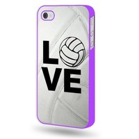 Shawnex Volleyball Love Heart Volleyball Player Purple Plastic iPhone 4 & 4S Case - Fits iPhone 4 & 4S