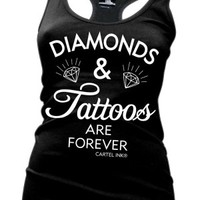 Diamonds and Tattoos are Forever Racerback Tank