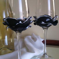 Set of 2 hand decorated Wedding Glasses champagne flutes Black and white Rose