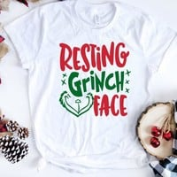 Resting Grinch Face Fall Clothing for Women Streetwear Vintage T Shirt Plus Size Graphic Tops Christmas Gift Shirt Tee Drop Ship