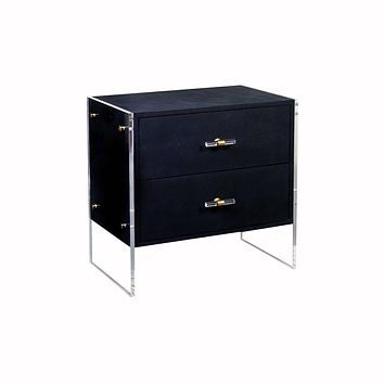 Norris Navy Faux Shagreen Side Table