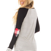 Black Striped Raglan Shirt with Plaid Heart Elbow Patches