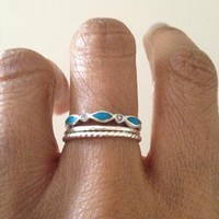 Vintage 80s Sterling Silver Boho Stacking Ring from Ace-Vintage
