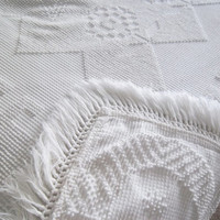 Mid Century Chenille white bedspread, Queen or King size bedding, blanket, fringe, hobnail, floral and geometric design, bohemian, hippie