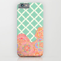 Floral Doodle on Mint Moroccan Lattice iPhone & iPod Case by Micklyn