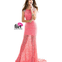 (PRE-ORDER) Flirt by Maggie Sottero 2014 Prom Dresses - Sweet Tangelo Lace Dress with Beaded Shoulders