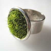 Green Grass Ring in Silver wide Adjustable Band by SeahagAndWalrus