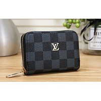 LV Fashion Zipper Printed Wallet Black lattice