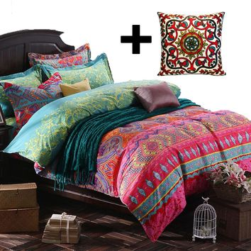 Boho/Bohemia National Exotic Style Cotton Brushed Duvet Cover Sets Geometry Stripe Sheet Sets Baroque Style Printing Bedding Set