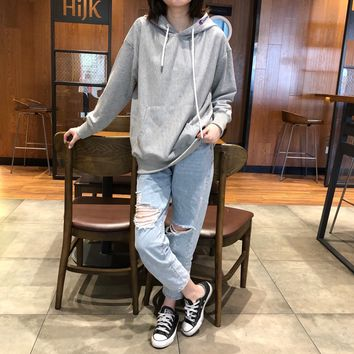 """""""Champion"""" Casual Fashion Letter Pattern Solid Color Long Sleeve Hooded Sweater Women Hoodie Tops"""