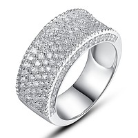 Sterling Silver Half Eternity Ring W. Concave Five Rows Cubic Zirconia