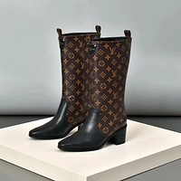 lv louis vuitton trending womens black leather side zip lace up ankle boots shoes high boots 189