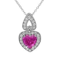 Lab-Created Pink & White Sapphire Sterling Silver Heart Pendant Necklace