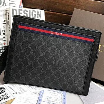 GUCCI New fashion more letter cosmetic bag file package handbag Black