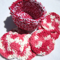 Cotton Facial Cloths Exfoliating Cloths Make Up Removers Facial Scrubbie with Basket Pink and White Crochet 100 Percent Cotton
