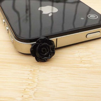 Black Rose Anti Dust Plug - 3.5mm Phone Dust Stopper Earphone Cap Headphone Jack Charm for iPhone 4 4S 5 HTC Samsung