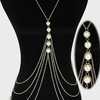 Pearl Gold Crossover Harness Body Chain Jewelry