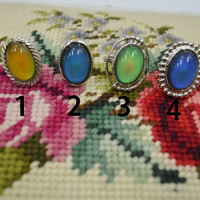 Mood Ring Large Oval Hippie Boho Soft Grunge Groovy Jewelry Silver adjustable band fancy mood rings retro fun