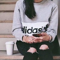NIKE ADIDAS Fashion Letter Print Round Neck Top Pullover Sweater Sweatshirt