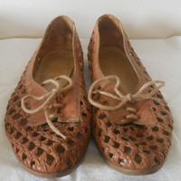 Boho Chic Shoes / Hipster Shoes Hippie Shoes Boho Chic Fashion Woven Leather Shoe Brown Leather Flats Brown Leather Shoes Indie Shoes Casual