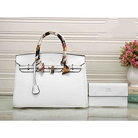 Hermes Fashion Women Shopping Bag Pure Color Leather Crossbody Satchel Shoulder Bag Handbag White I-XS-PJ-BB