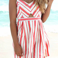 Oceans Away Red Striped Keyhole Flare Dress