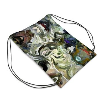 Abstract Fluid Lines of Movement Muted Tones Drawstring Sports Bag by The Photo Access