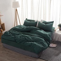 Home Textile Simple Solid Color Green Bedding Sets 3/4pcs Pink Washed Cotton Polyester Soft Duvet Cover Bed Linen Pillowcases