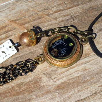 Steampunk Charm Necklace OOAK Brass Steampunk Pendant Mixed Metal Artisan Necklace on Black Suede Cord w/ Bead & Watch face Charm