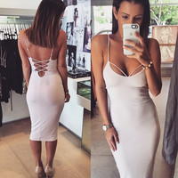 Sexy backless strapless dress 668MBY