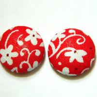 Button Earrings Red- White Floral Flower