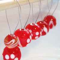 LIMITED - Red Floral Glass Stitch Markers
